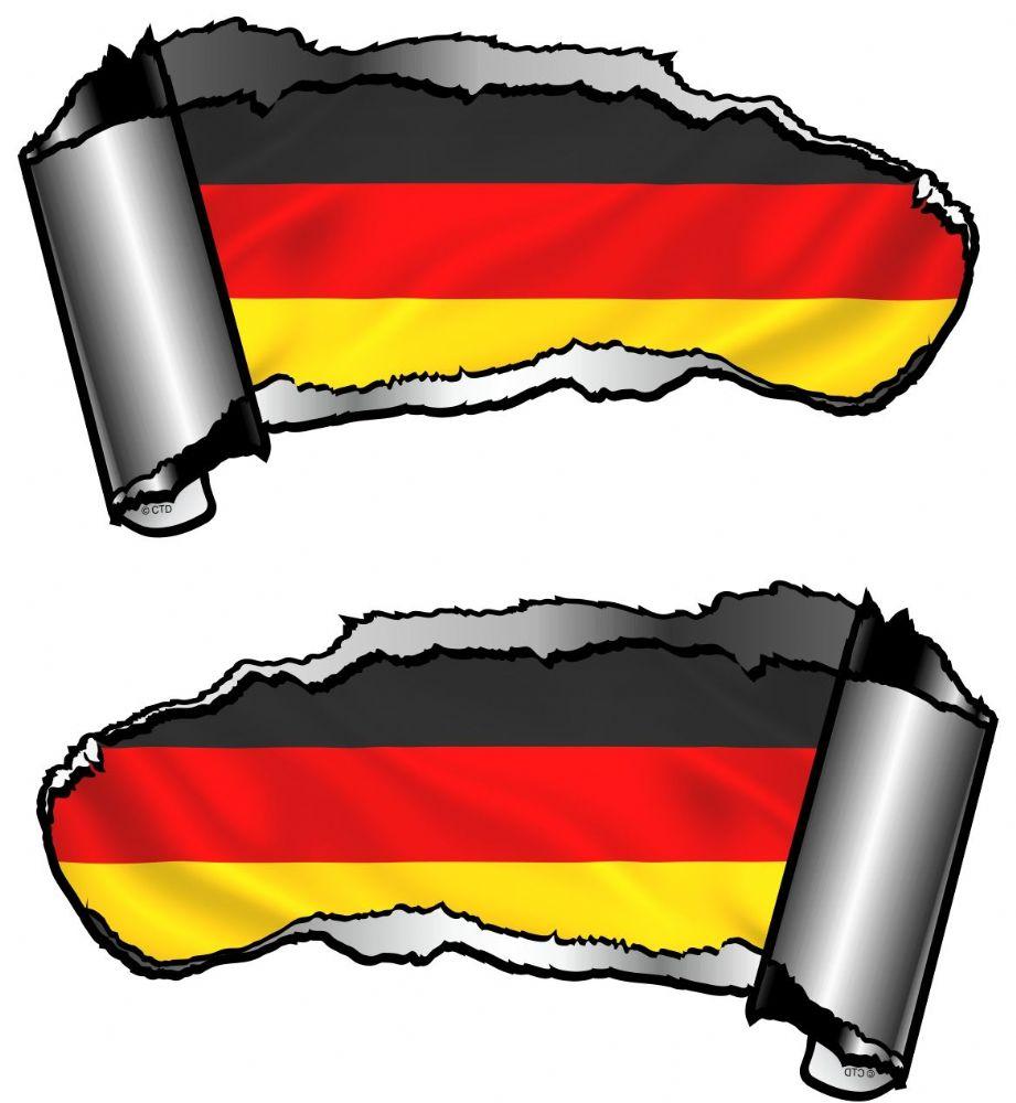 Small Pair Ripped Torn Metal Gash Design & Germany German